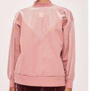 Adidas pink velvet boyfriend sweater